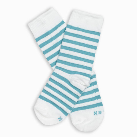 Men Aqua Stripe Crew Sock