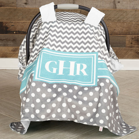 Gray Chevron Dot Turquoise Minky Initial Carseat Cover