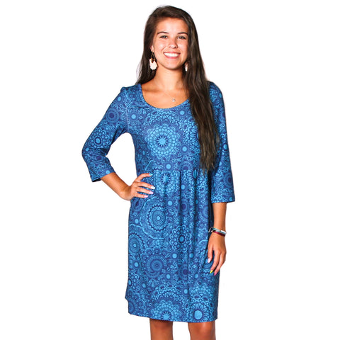 Teal Navy Zen Olivia Dress