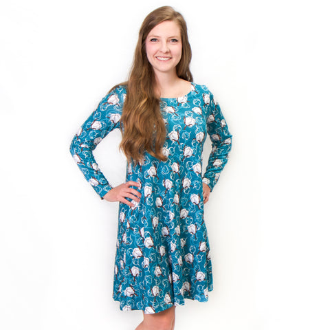 Teal Cotton Aubrey Dress