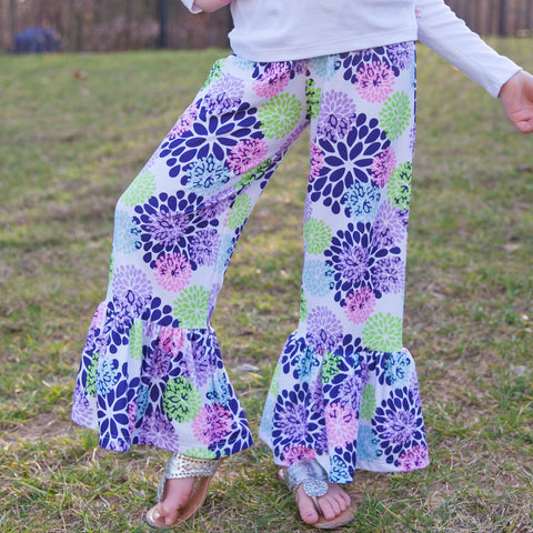 Girls Spring Floral Ruffle Pant