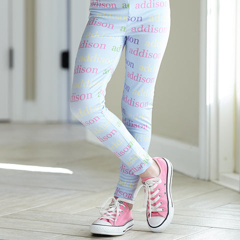 Girls Light Blue Lowercase Name Arden Leggings