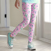 Girls Aqua Light Pink Peony Arden Leggings