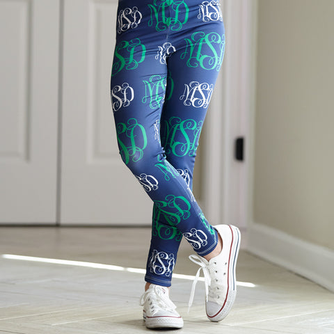 Girls Navy Green Monogram Arden Leggings