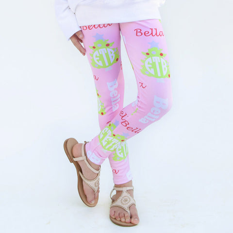 Girls Light Pink Christmas Tree Arden Leggings