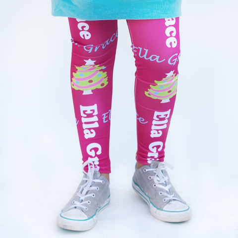 Girls Hot Pink Christmas Tree Arden Leggings