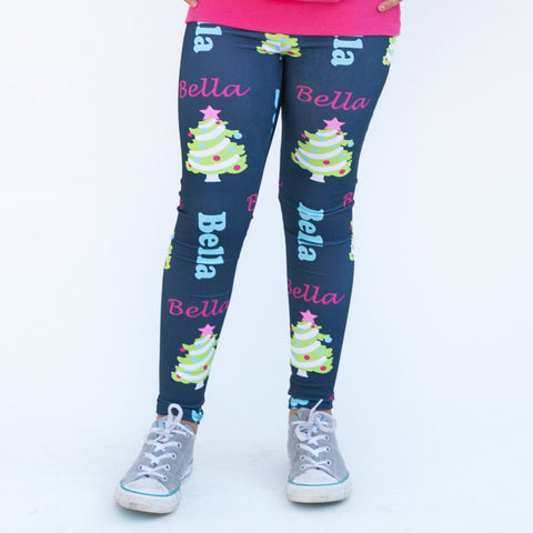 Girls Navy Christmas Tree Arden Leggings