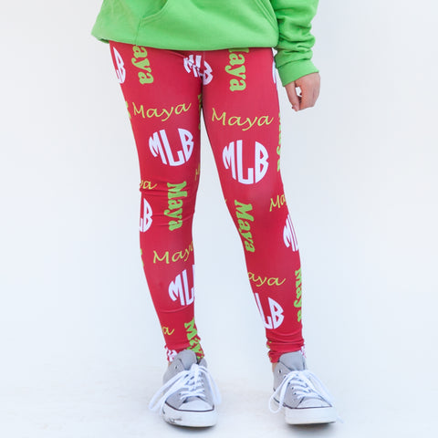 Girls Red Name & Initials Arden Leggings