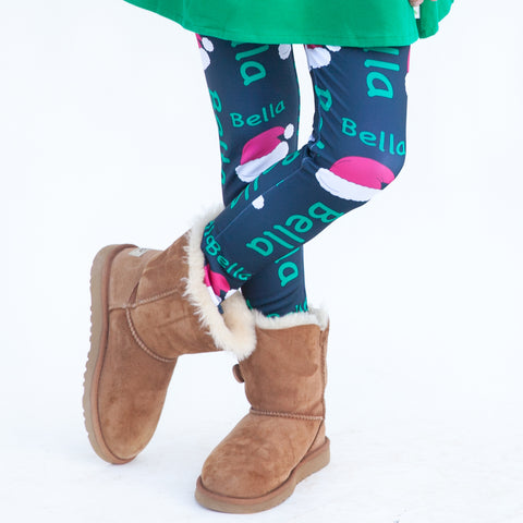Girls Navy Santa Hat Arden Leggings