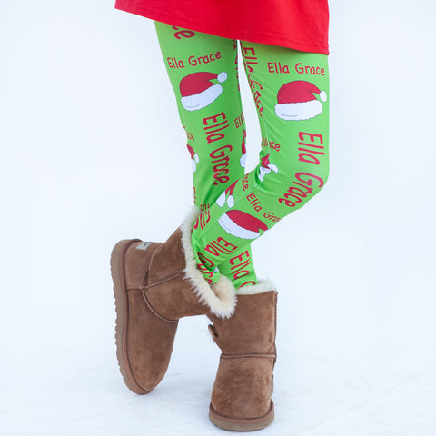 Girls Lime Santa Hat Arden Leggings