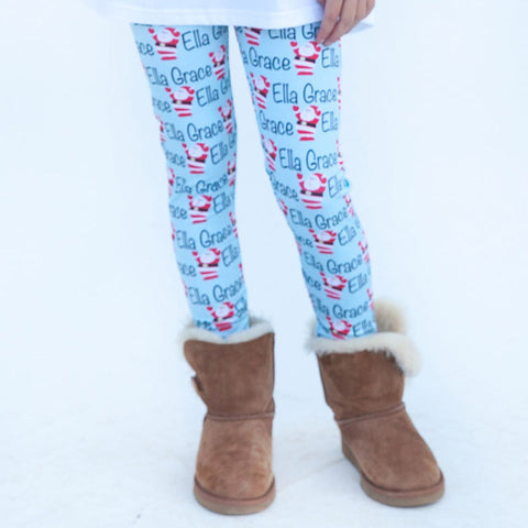 Girls Light Blue Santa Name Arden Leggings