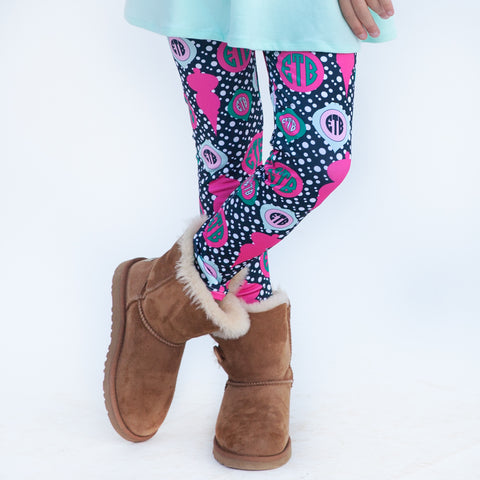 Girls Navy Dot Ornament Arden Leggings