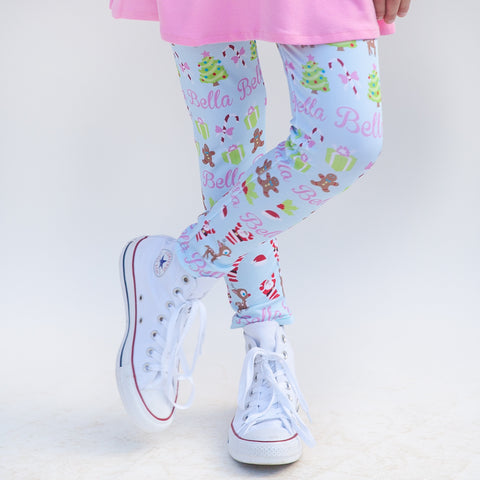Girls Light Blue Christmas Arden Leggings