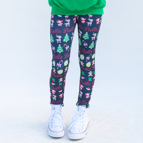 Girls Navy Christmas Arden Leggings
