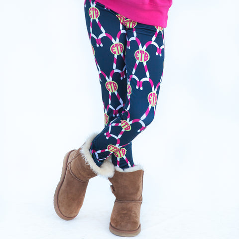 Girls Navy Candy Cane Arden Leggings