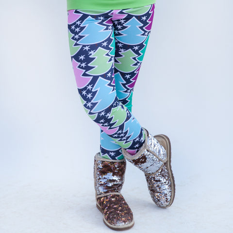 Girls Navy Whimsy Tree Arden Leggings