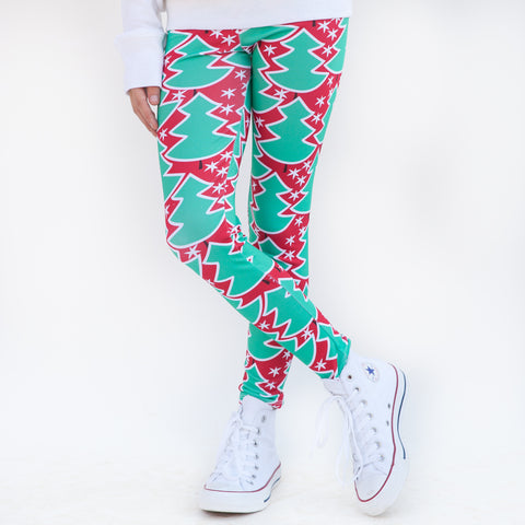 Girls Red Whimsy Tree Arden Leggings