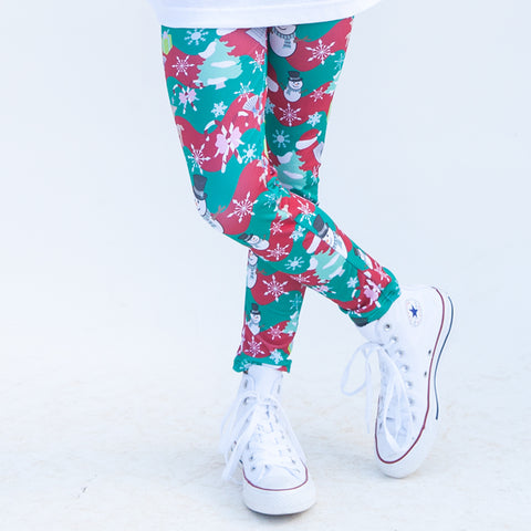 Girls Red Green Chevron Christmas Arden Leggings