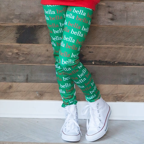 Girls Green Name Arden Leggings