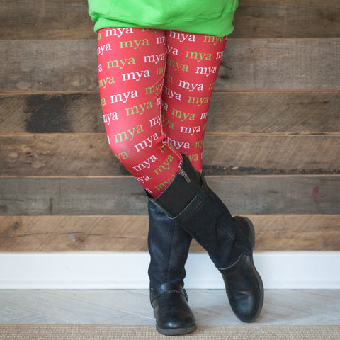 Girls Red Name Arden Leggings