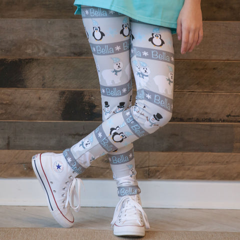 Girls Polar Bear Name Arden Leggings