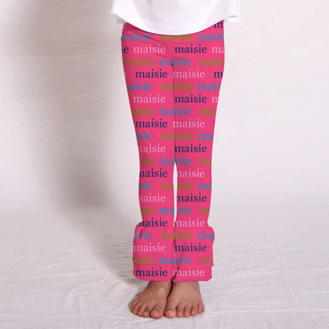 Girls Lowercase Hot Pink Name Ruffle Leggings