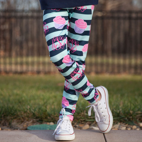 Girls Cupcake Initial Arden Leggings