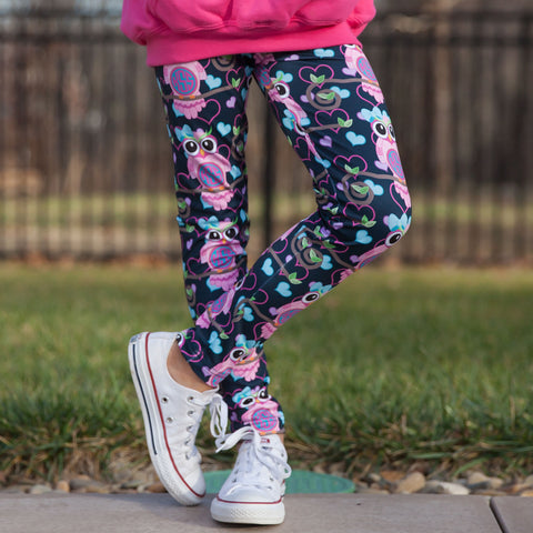 Girls Owl Initial Arden Leggings