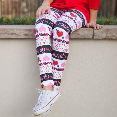 Girls Heart Name Arden Leggings