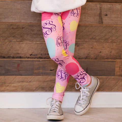 Girls Hearts Initials Arden Leggings