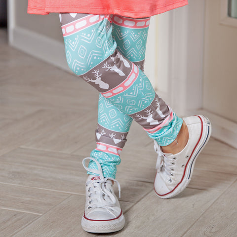 Girls Aztec Deer Arden Leggings