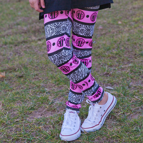 Girls Zebra Initial Arden Leggings