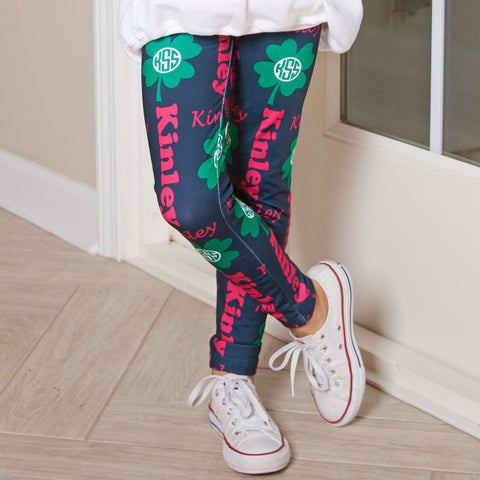 Girls Clover Name & Initials Arden Leggings