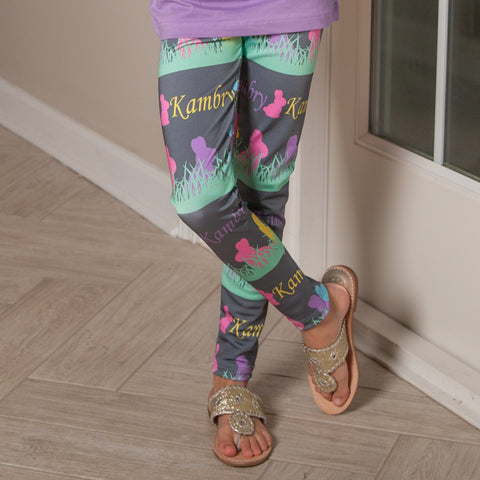 Girls Bunny Name Arden Leggings