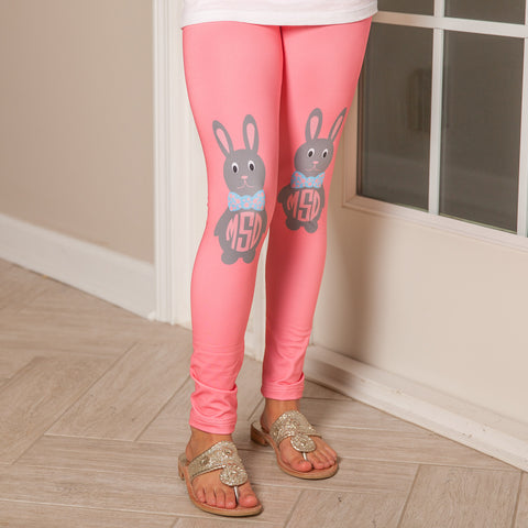 Girls Coral Bunny Initial Arden Leggings