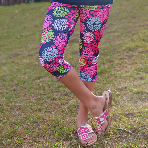Girls Flower Arden Capri Leggings