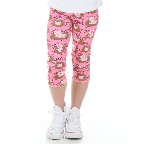Girls Farm Pig Arden Capri Leggings
