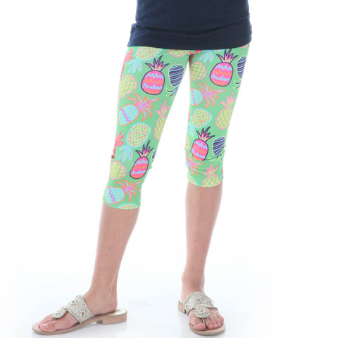 Girls Whimsy Pineapple Arden Capri Leggings