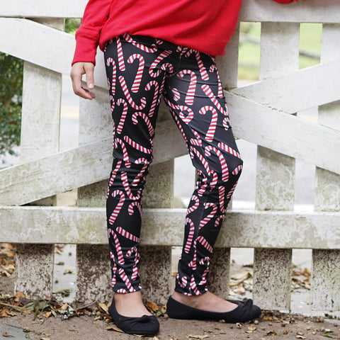 Girls Candy Cane Toss Arden Leggings