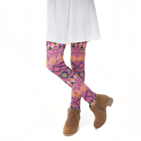 Girls Pumpkin Patch Aztec Initials Arden Leggings