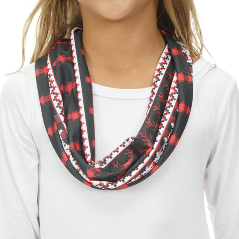 Girls Country Christmas Deer Scarf