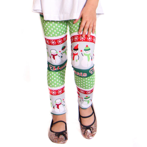Girls Christmas Snowman Name Arden Leggings
