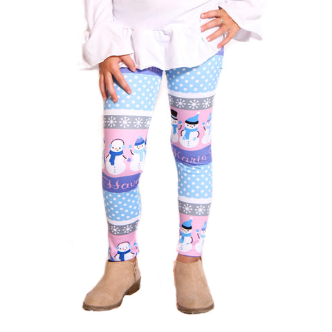 Girls Snowman Fun Name Arden Leggings