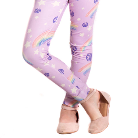 Girls Lavender Rainbow Initials Arden Leggings