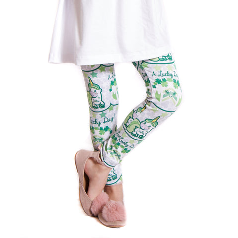 Girls St Patty's Unicorn Name Arden Leggings