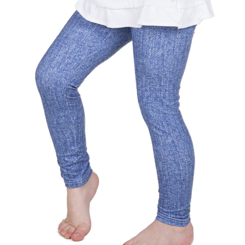 Girls Cool Denim Full Length Leggings