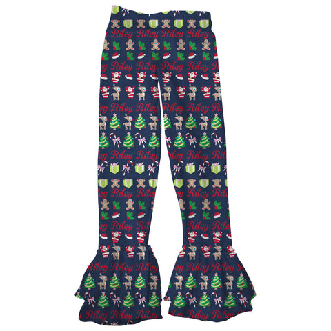 Girls Navy Christmas Name Ruffle Leggings