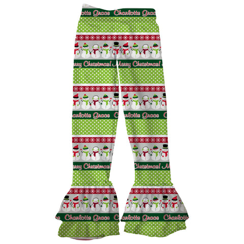 Girls Christmas Snowman Name Ruffle Leggings