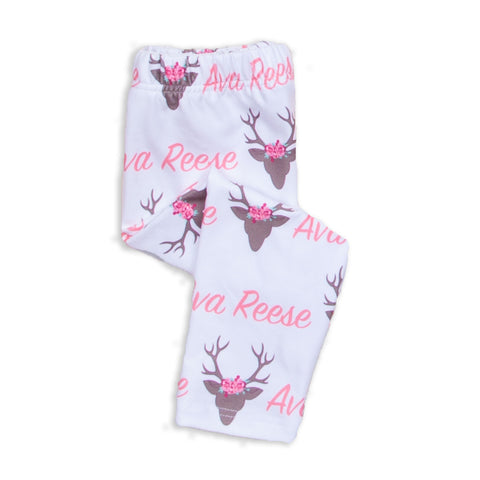 Baby Girls Deer Name Ireland Leggings
