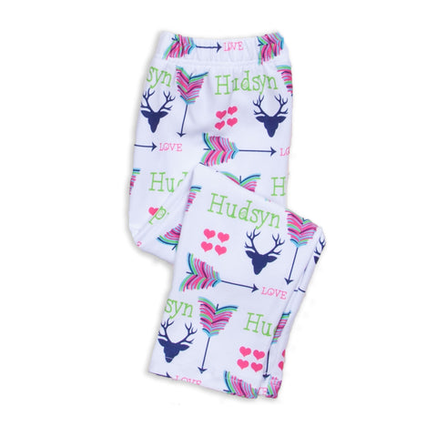 Baby Girls Deer Arrow Name Ireland Leggings